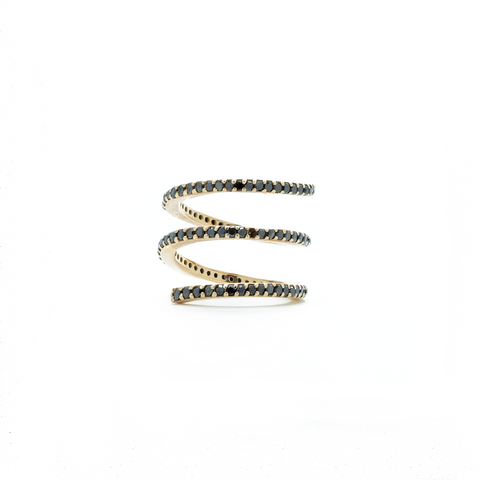 """18k Rose Gold and Black Diamond Short Spiral"" Ring"