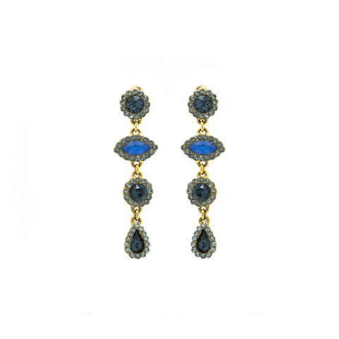 """Evil Eye Blue Drop Crystals Pair"" Earrings"