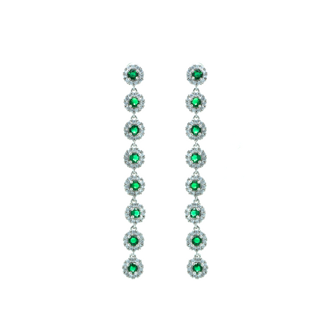 """Long Green Crystal Drop"" Earrings"