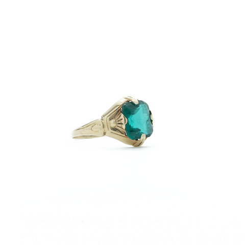 """10K Yellow Gold and Green Gemstone"" Ring"