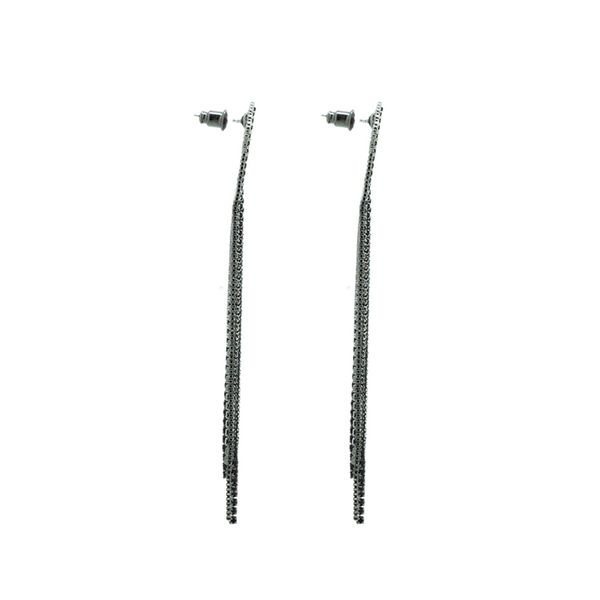 """Crystal Black Fringe"" Earrings"