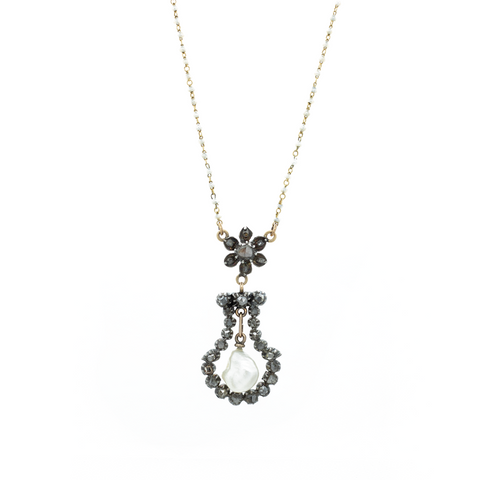 """Pearl and Diamond Pendant"" Necklace"