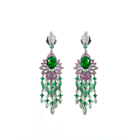 """Green Crystal Multi Drop"" Earrings"
