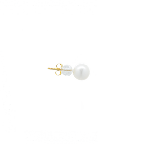"""18K Gold Single Pearl Large Stud"" Earring"