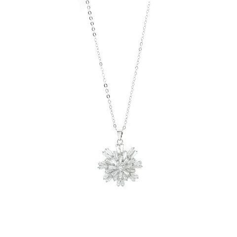 """White Crystal Snowflake"" Necklace"