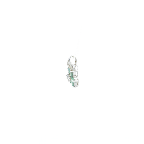 """14K White Gold, Aquamarine and Moonstone Charm"" Pendant"