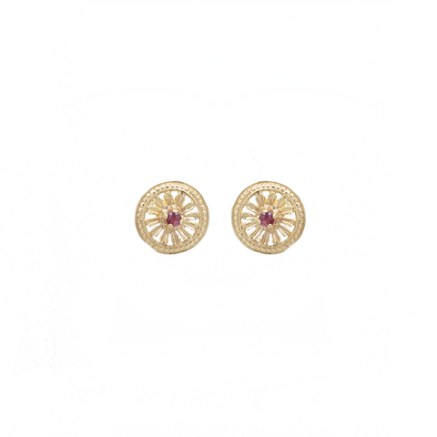 """14K Yellow Gold and Ruby Stud"" Earrings"