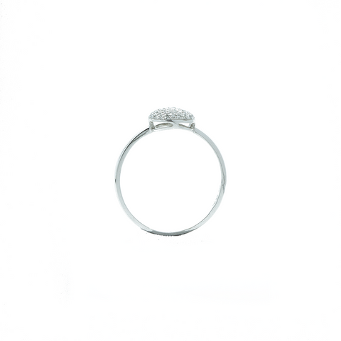 """18k White Gold and Diamond Oval Pavé"" Ring"