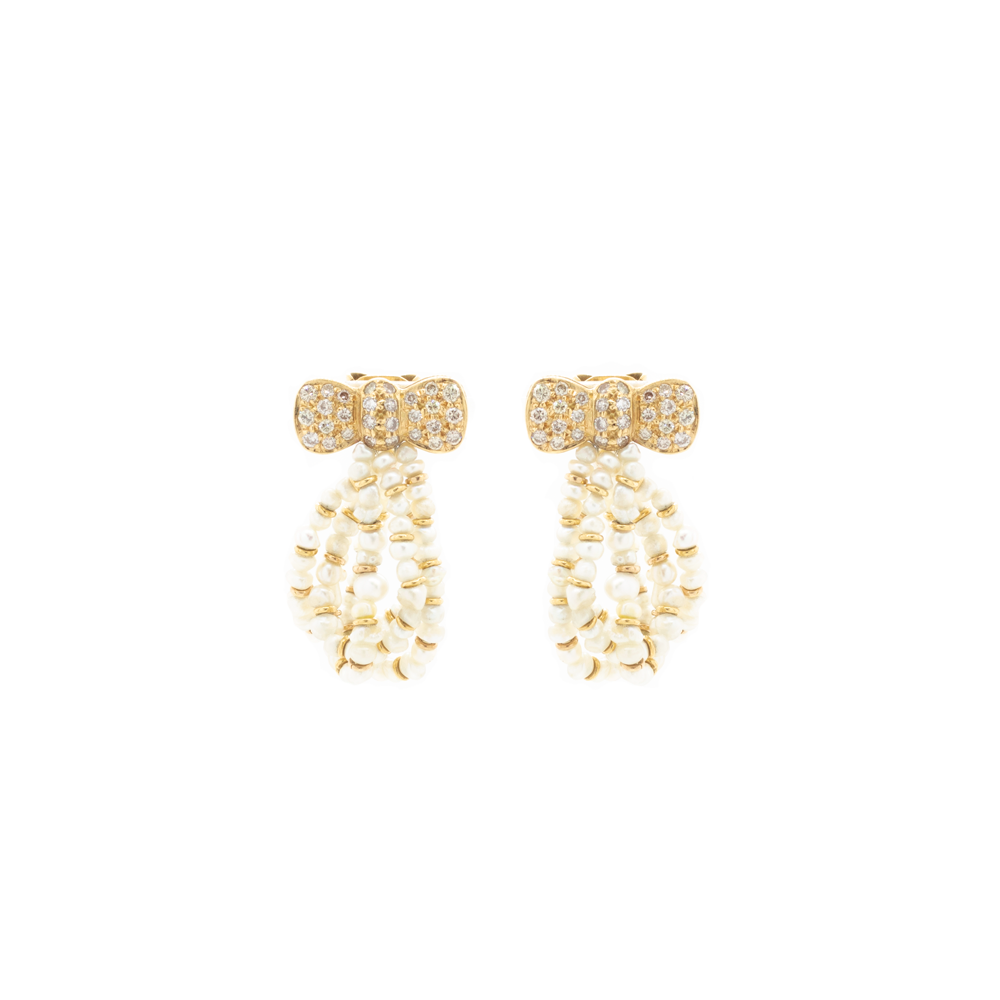 """French 18k Yellow Gold, Natural Pearl and Diamond Bow"" Earrings"