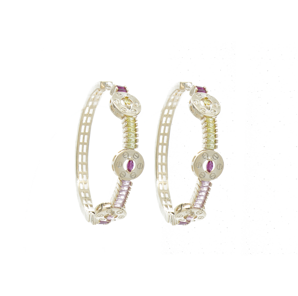 """Multi-Colour Crystal Hoop"" Earrings"