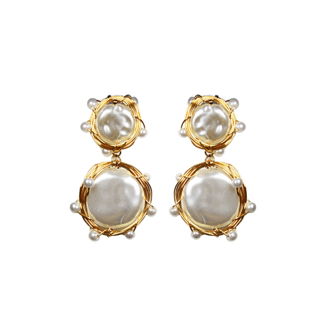 """Gold-Wired Pearl"" Earrings"