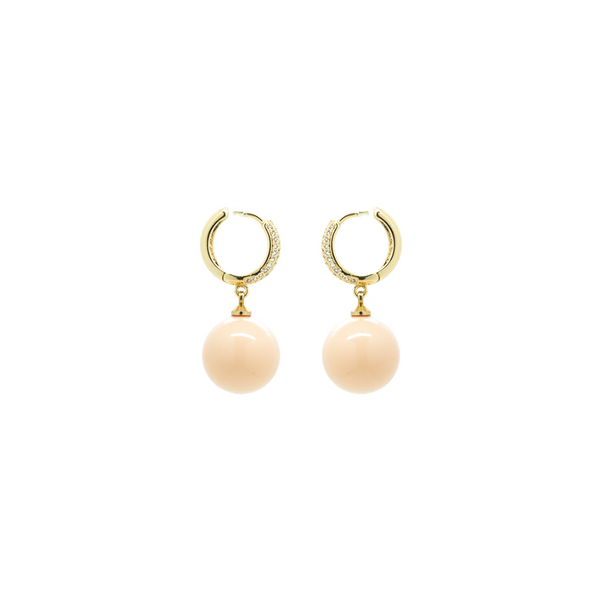 """Gold Crystal Beige"" Earrings"