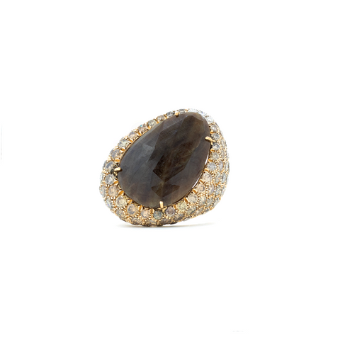 """Zaff Sapphire and Diamond 18k Yellow Gold"" Ring"