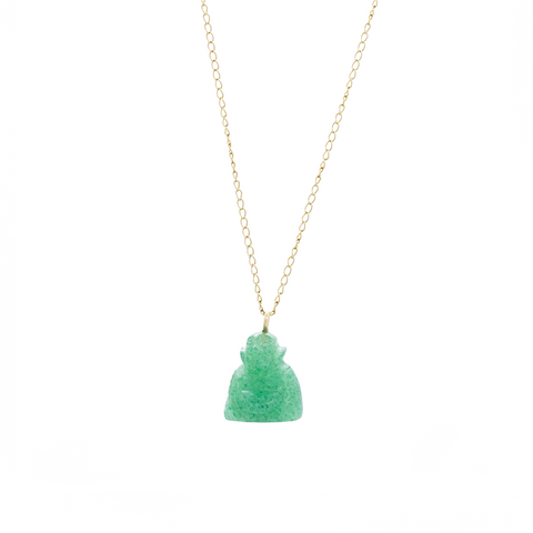 """14k Yellow Gold and Jade Buddha Pendant"" Necklace"