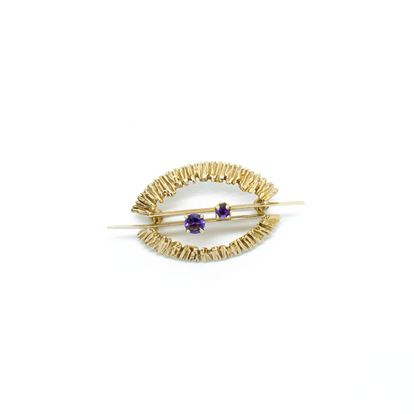 """14K Yellow Gold and Amethyst"" Brooch"
