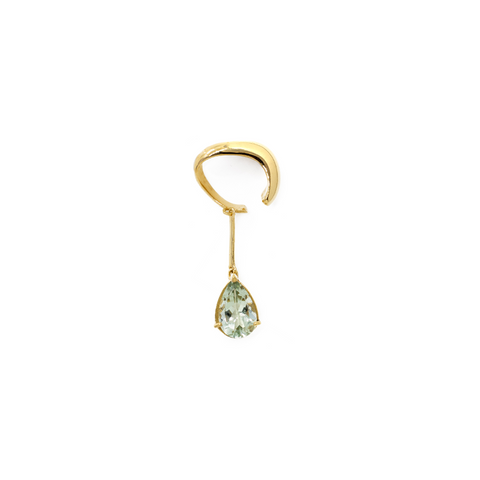 """GREEN AMETHYST GOLD DROP"" MONO EAR CUFF"
