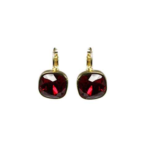 """Large Red Crystal"" Earrings"