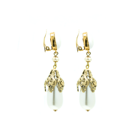 """Clip-on Gold Drop Pearls Pair"" Earrings"
