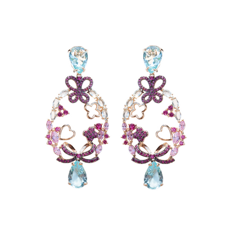 """Blue Crystal Butterfly"" Earrings"