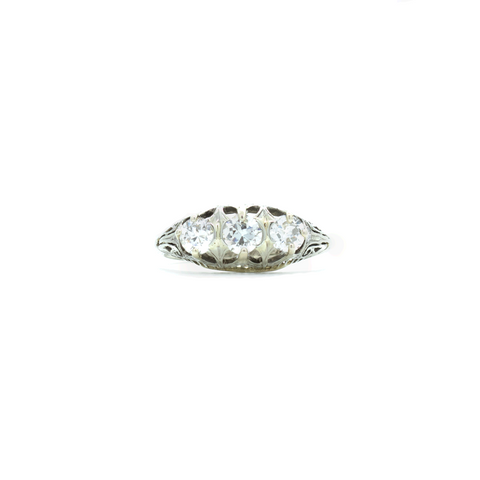 """18k White Gold and Three Diamond Crown Trinity"" Ring"