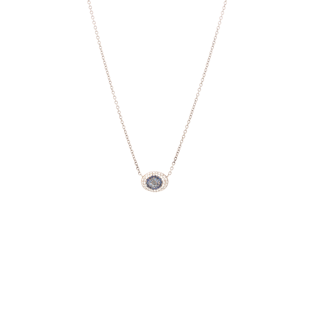 """18k Gold, Diamond and Sapphire Evil Eye"" Necklace"