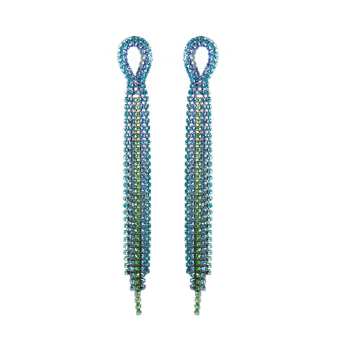 """Green & Blue Long Crystal Drop"" Earrings"
