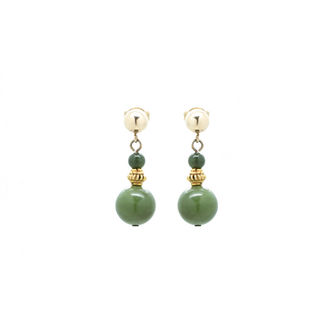 """Spinach Jade and Filled Yellow Gold"" Earrings"