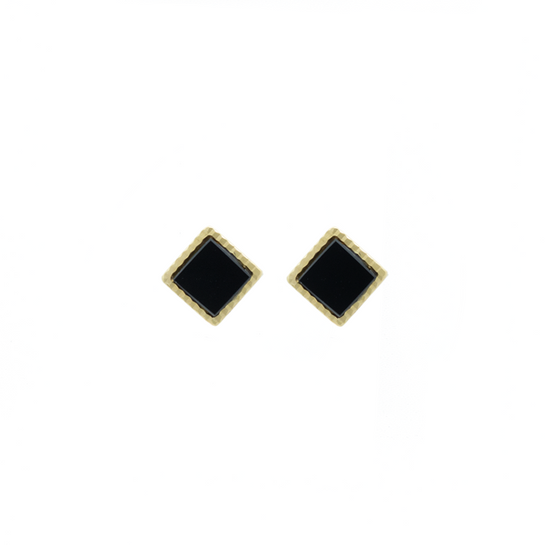 """14K Yellow Gold and Black Onyx Stud"" Earrings"