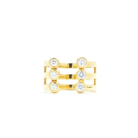 """18k Yellow Gold and 6 Diamond Double Row"" Ring"