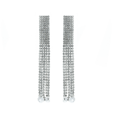 """Rectangular Silver Long Crystal Drop"" Earrings"