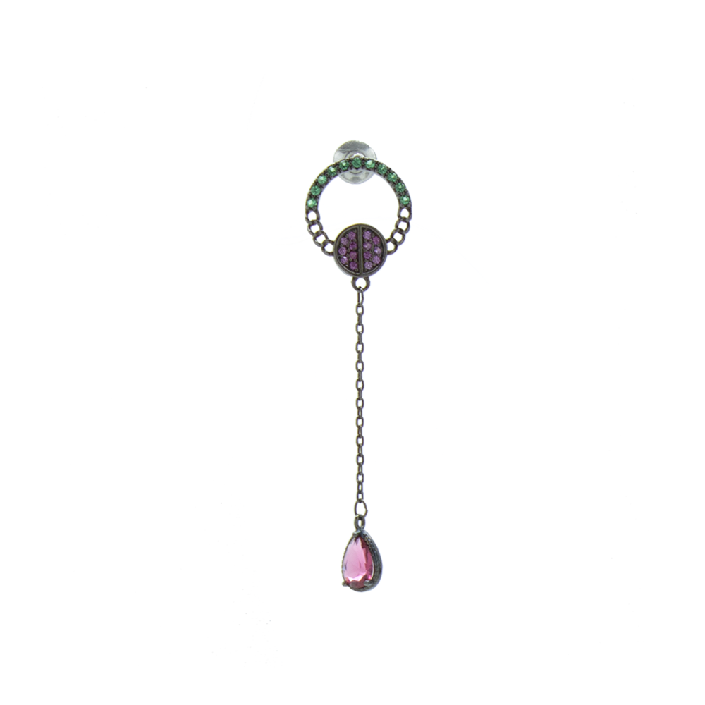 """Green Crystal with Pink Droplet"" Mono Earring"