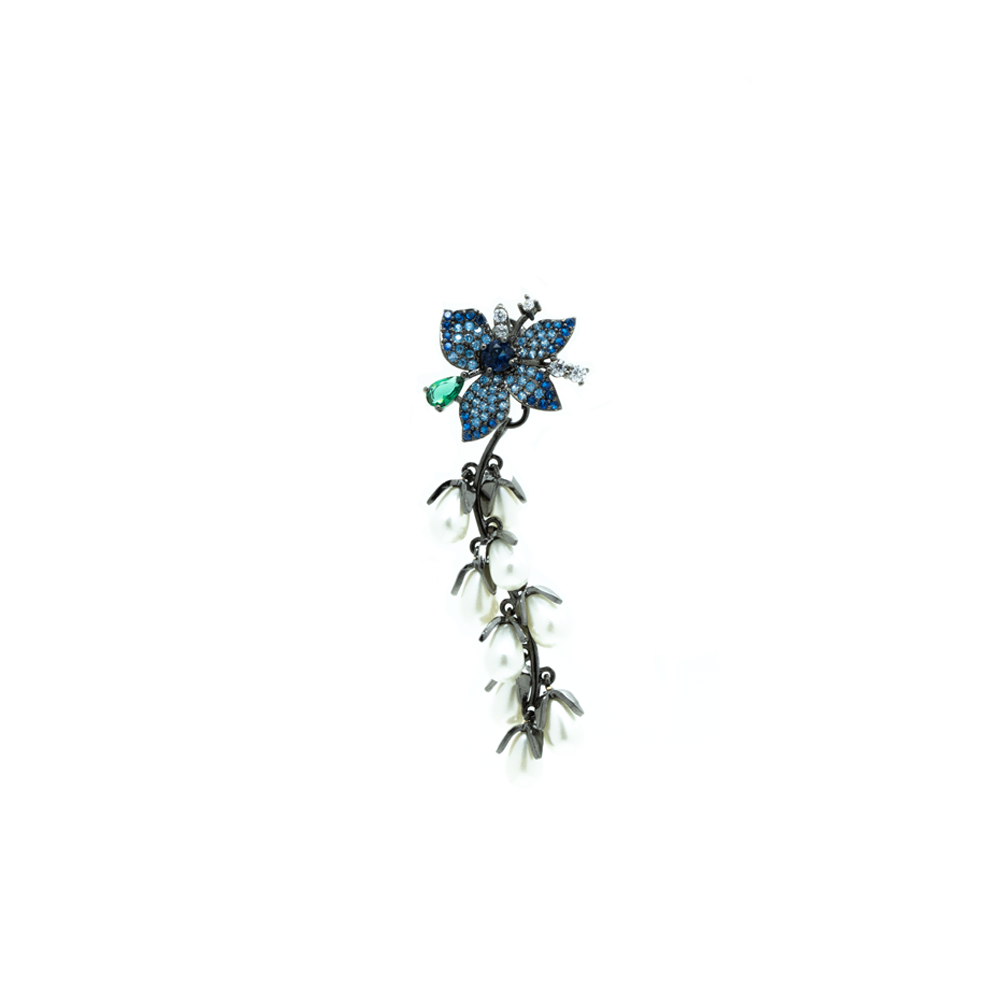 """Blue Crystal Flower with Pearl Drops"" Mono Earring"