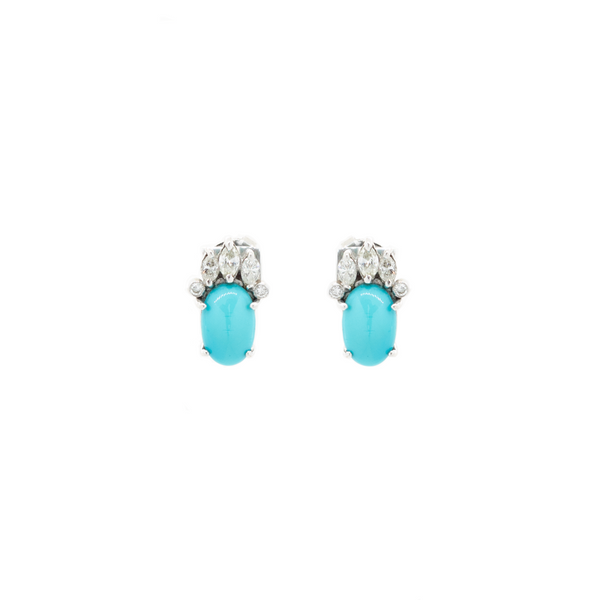 """18K Gold Diamond and Turquoise Stud"" Earrings"