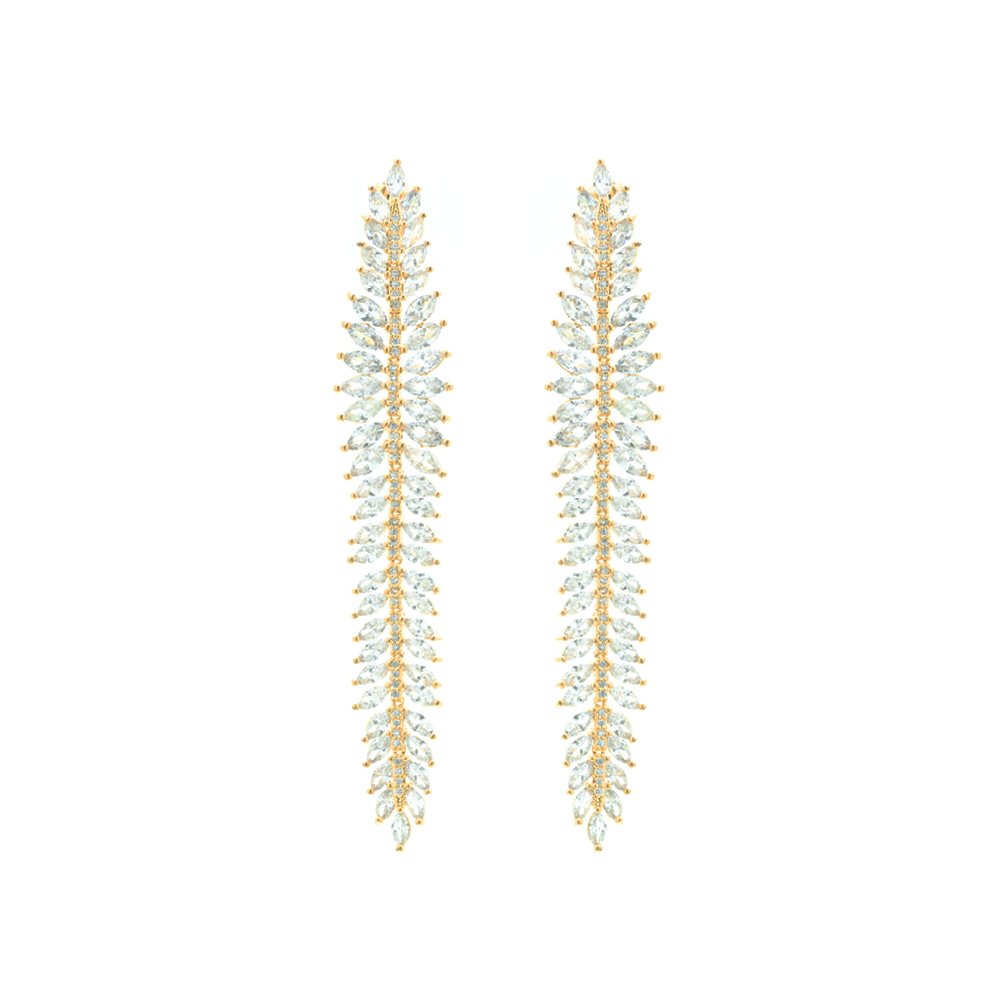 """Gold Marquise Crystal Drop"" Earrings"
