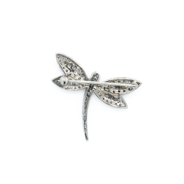 """18k White Gold Dragonfly"" Brooch"