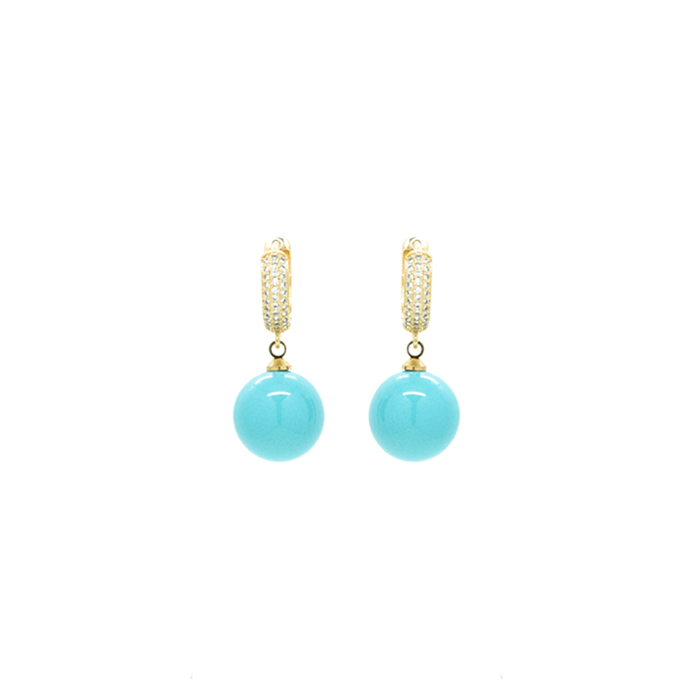 """Gold Crystal Turquoise"" Earrings"