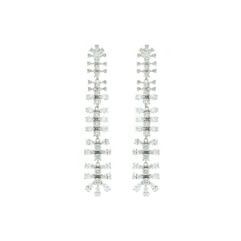 """Long White Crystal Drop"" Earrings"