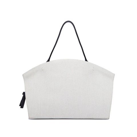 """BEACH CABAS"" WHITE CANVAS BAG"