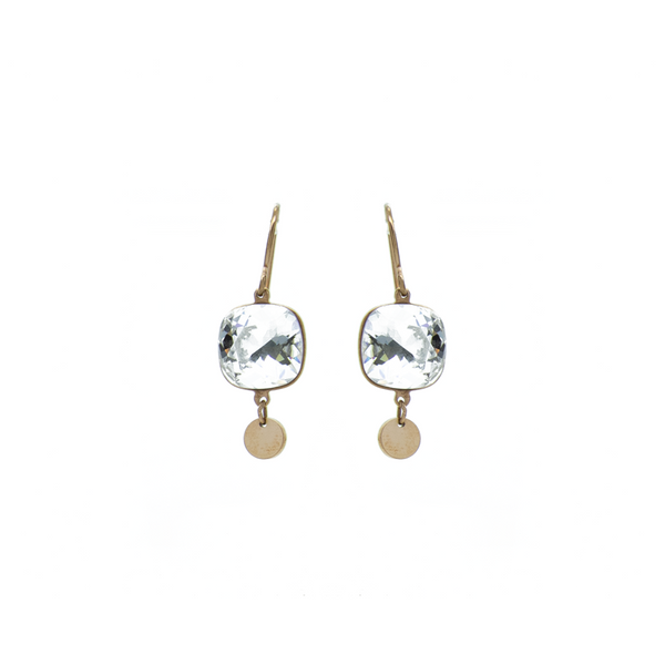 """White Crystal Drop"" Earrings"