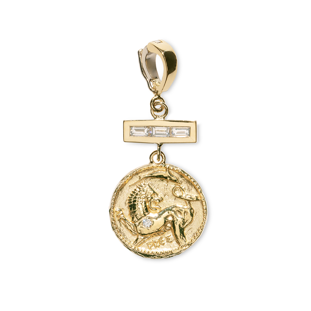 """ANIMAL KINGDOM SMALL DIAMOND COIN WITH TRIPLE BAGUETTE"" CHARM"