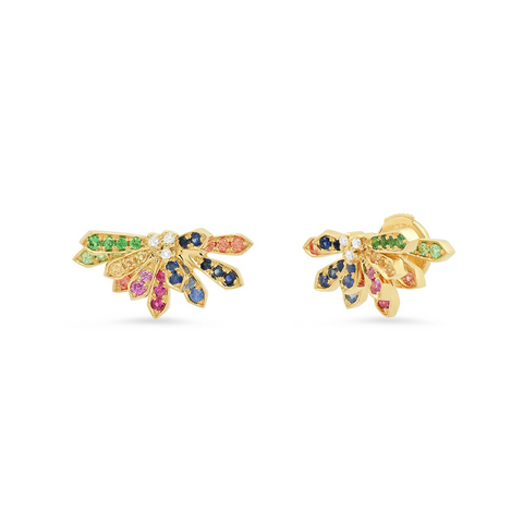 """Mini Penacho 18K Yellow Gold Multi Color Sapphire"" Studs"