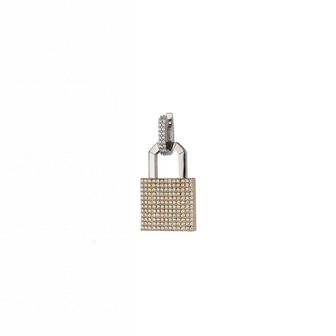 """LOCK"" 18K YELLOW GOLD PAVÉ EARRING"