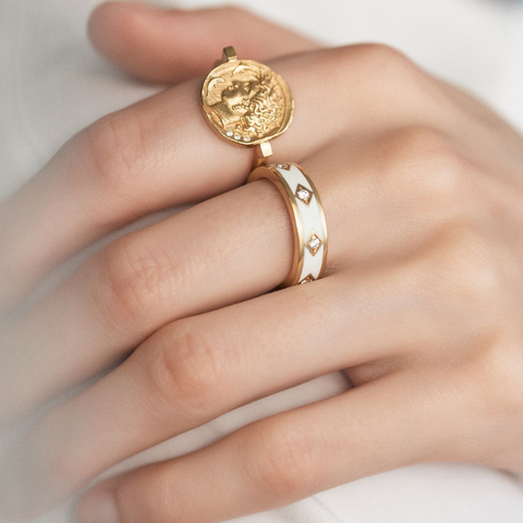 """Goddess Coin Diamond"" Ring"