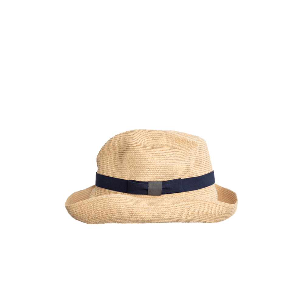 """BOXED RAFFIA"" HAT - NAVY - 11CM BRIM"