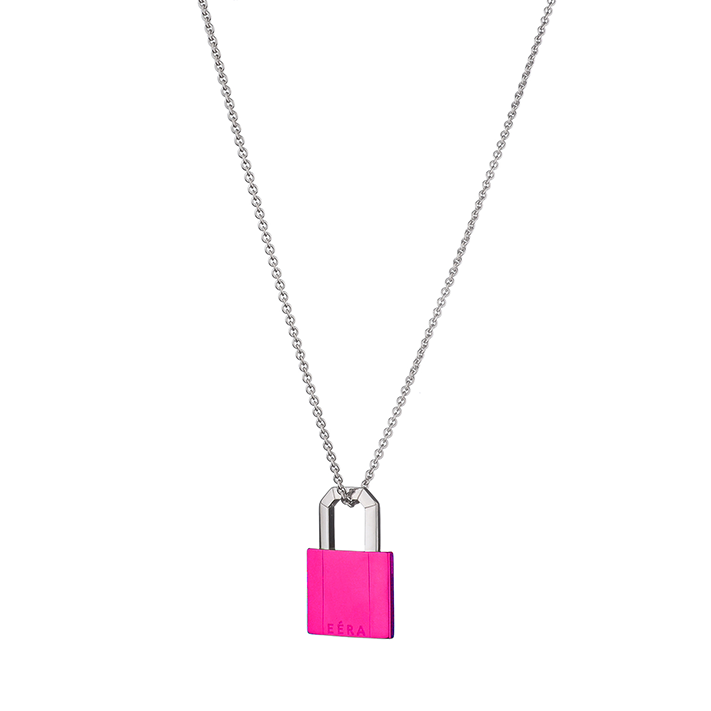 """LOCK"" 18K GOLD FLUO FUCHSIA NECKLACE"
