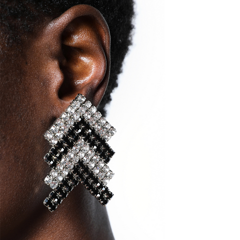 """Silver & Black Crystal Arrow"" Earrings"