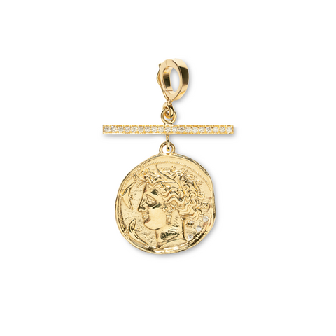 """GODDESS SMALL DIAMOND COIN WITH PAVÉ DIAMOND BAR"" CHARM"