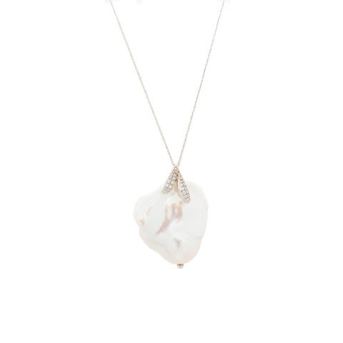 """Baroque Pearl and Diamond Pendant"" Necklace"