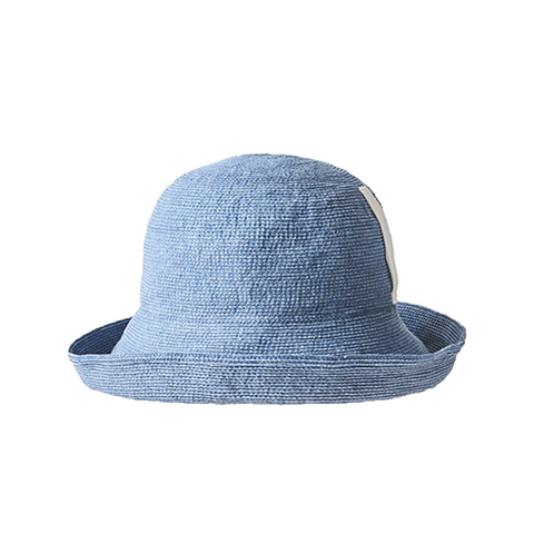 """Wash blue paper linen braid denim"" hat wide"
