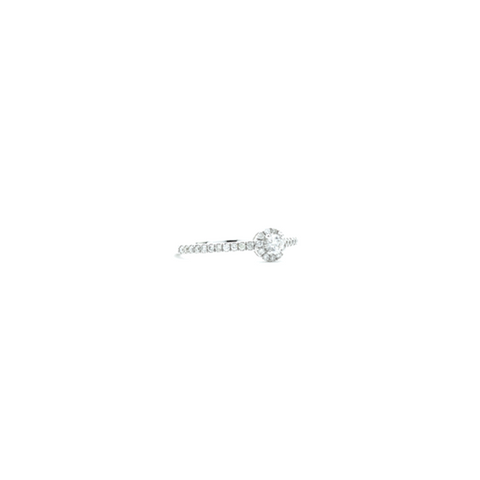 """18k White Gold and Diamond Solitaire with Halo"" Ring"